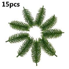 Idea Regalo - 15PCS piante artificiali rami di pino albero di Natale Decorazioni di nozze fai da te artigianale accessori regalo dei bambini bouquet
