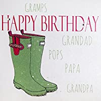 WHITE COTTON CARDS Happy Gramps.Grandad.Pops.Papa.Grandpa, Handmade Large Birthday Card (Green, Wellies)