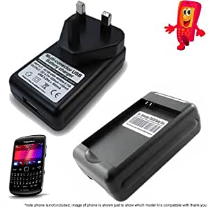 Desktop Mains Battery Charger for Blackberry 9360 Curve EM-1 EM1 Batteries With USB Phone Charging UK Plug