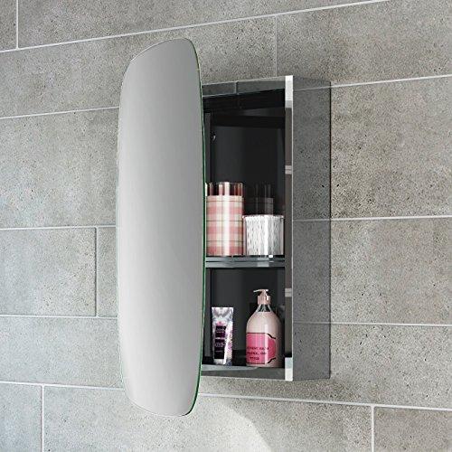 #soak Moderner Spiegelschrank aus Edelstahl für das Badezimmer – Badschrank mit Spiegel – 45 x 60 cm, eine Tür (oval), einfache Montage#