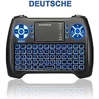 ANEWKODI Mini Kabellose Beleuchtete Tastatur Touchpad-Maus Combo, T16 2.4GHz QWERTY Keyboard, Mini Wireless Tastatur Fernbedienung, für Smart TV, HTPC, IPTV, Android TV Box, XBOX360, PS3, PC, usw.