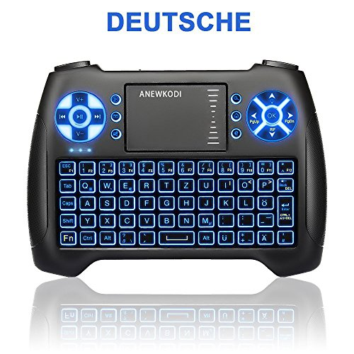 Usb Smart-tv (ANEWKODI Mini Kabellose Beleuchtete Tastatur Touchpad-Maus Combo, T16 2.4GHz QWERTZ Keyboard, Mini Wireless Tastatur Fernbedienung, für Smart TV, HTPC, IPTV, Android TV Box, XBOX360, PS3, PC, usw.)