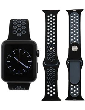 Für Apple Watch iWatch 38mm Sport Silikon Ersatz Band Armband schwarz+Grau