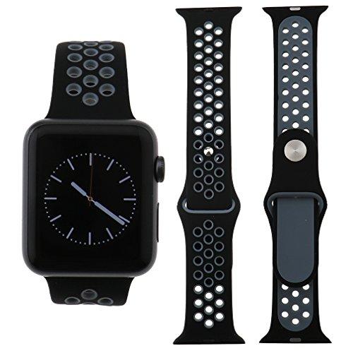 Preisvergleich Produktbild Für Apple Watch iWatch 38mm Sport Silikon Ersatz Band Armband schwarz+Grau