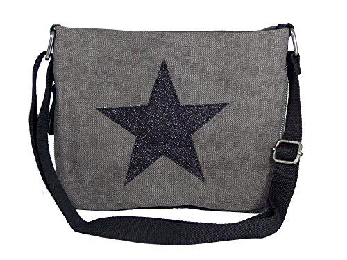 Bunte Umhängetasche Canvas - aufgenähter Stern - Maße 27 x 20 cm /ohne Schulterriemen) - Damen Mädchen Teenager Tasche (grau/schwarz (Mädchen Handtasche)