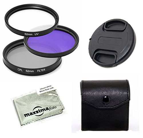 Maxsimafoto - 49 mm Filter Set, UV, CPL & FLD für Pentax SMC FA 43 mm f1.9 Objektiv.