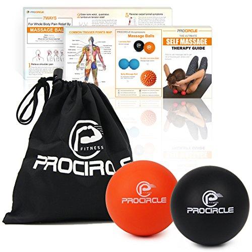 PROCIRCLE Boules de massage - Boules de mobilité et boules de lacrosse pour la thérapie physique - Outil de massage de haute densité pour le tissu profond, libération myofasciale, relaxation de muscle, massage d'Accupoint - ensemble de 2