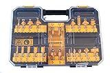 DeWalt Hartmetall Fräser Set (22-tlg., mit Anti Kickback Design, Premium Stahlkörper, HM Schneidplatten und austauschbarem Kugellager, inkl. Box) DT90017