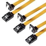 SET – 3x Poppstar PREMIUM S-ATA 3 HDD / SSD PREMIUM Datenkabel mit jeweils 1x Clip-Stecker gerade zu 1x 90 Grad Clip-Stecker / abwärtskompatibel zu älteren S-ATA (SATA 1 und 2) Versionen / Länge: 0,5m / schnelle Datenübertragung mit bis zu 6 GBit/s / Farbe: gelb