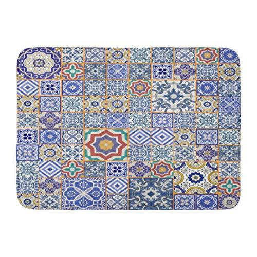 Rongpona Fußmatten Bad Teppiche Outdoor/Indoor Fußmatte blau Keramik Mega wunderschöne Patchwork Muster aus bunten marokkanischen Fliesen Ornamente füllt spanischen Badezimmer Dekor Teppich Badematte (Badematte Marokkanischen)