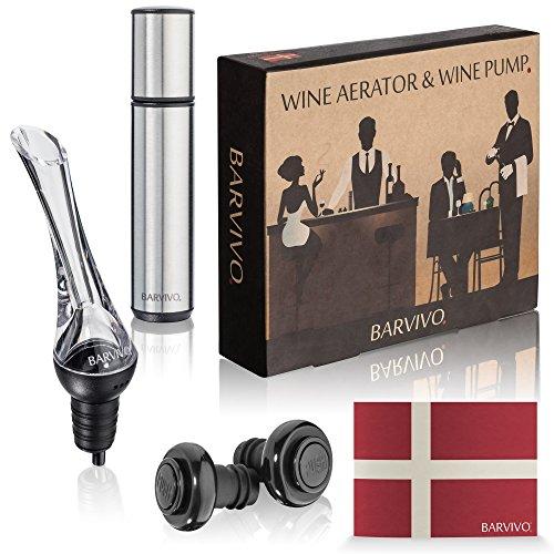 Aérateur de vin et Wine Pompe avec 2 bouchons par Barvivo - Ce kit tout-en-un est LeakProof, facile à utiliser et à rendre Cheap Wine goût trois fois aussi bien et le garde au frais pour 14 jours.