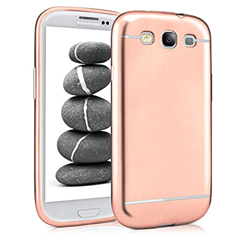 Samsung Galaxy S3 Hülle Silikon Rose-Gold [OneFlow Smooth Back-Cover] Chrom Matt Silikonhülle Ultra-Slim Schutzhülle Metallic Handy-Hülle für Samsung Galaxy S3 / S III Neo Case