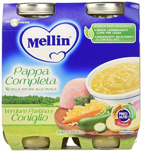 Mellin pappa completa verdure pastina e coniglio - 12 vasetti x 250 gr