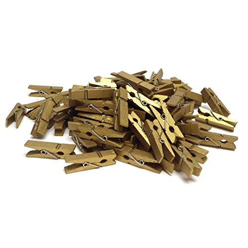 Sepkina 100 Deko Holzklammern Wäscheklammern Zierklammern Holz Set für Fotos Geschenke Dekoration Mini Clips Klammern für Party Natur Gold (SD-DK-100-Gold)