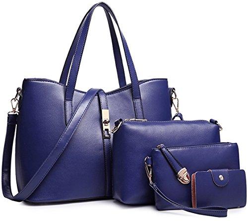 Tibes PU cuir sac à main + épaule de sac de femmes de la mode + porte-monnaie + carte 4pcs mis Bleu profond1