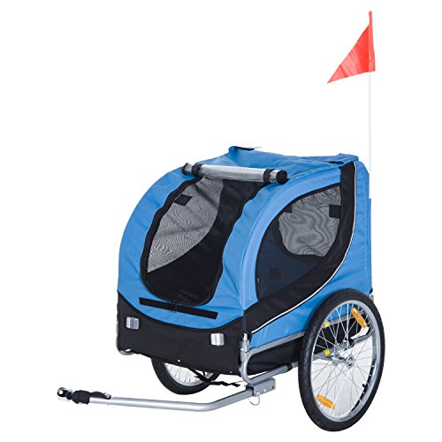 Pawhut® Hundeanhänger Fahrradanhänger Hunde Fahrrad Anhänger Blau+Schwarz