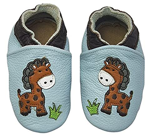 Rose & Chocolat Chaussures Bébé Jungle Giraffe Baby Blue, Bleu