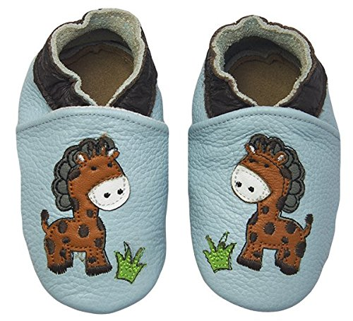 Rose & Chocolat Chaussures Bébé Jungle Giraffe Baby Blue