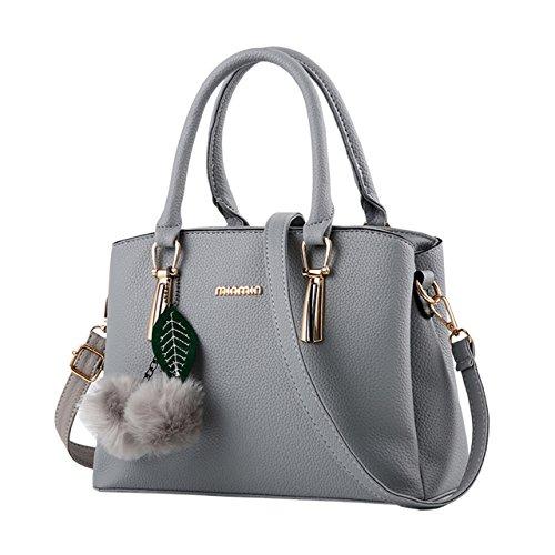 Bequemer Laden Borse Moda per Donna Borse in Pelle PU Borsa a Mano Donna con Grande Capacità-Grigio