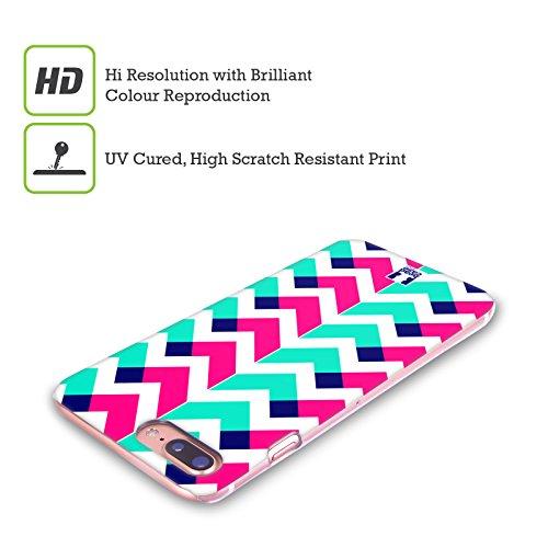 Head Case Designs Rosa Chevron Neon Cover Retro Rigida per Apple iPhone X Celeste
