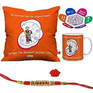 "Indigifts Rakshabandhan Gifts for Brother Longest Rakhi for My Bro Quote Printed Gift Set of Cus 12""x12"" with Filler, Mug 330 ml, Crystal Rakhi for Brother, Roli & Greeting Card - Raksha Bandhan Gifts, Best Rakhi Gifts for Brother, Rakhi for Brother with Gifts"