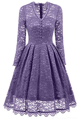 YMING Damen Kleid Spitzenkleid Knielang Cocktailkleid Retro Vintage 50er Festliche Kleider,Hell Violett,XXL / DE 36-38 (Crêpe-faltenrock)