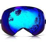 ZIONOR Lagopus X Motos de Nieve Snowboard Skate Gafas de esquí con Desmontable Lens y Lente Gran Angular Antiniebla Gran Esférico Profesional Unisex Multicolor (Negro Azul)