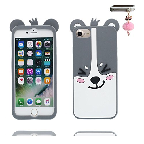 iPhone 6S Custodia, morbida guarnizione TPU in gomma antigraffio protettiva Case copertura per iPhone 6s 6 4.7 Cover + tappi antipolvere / Cartoon Progettato 3D giallo orso bear COLOR 4