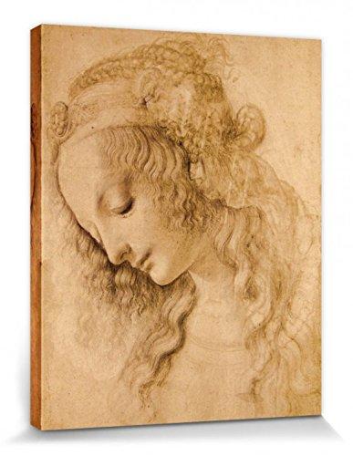 1art1 87381 Leonardo Da Vinci – Weiblicher Kopf, Circa 1478 Poster Leinwandbild Auf Keilrahmen 50 x 40 cm
