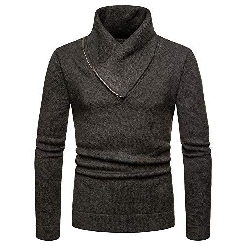 Herren Halben Hohen Kragen Langarmshirt Pullover Einfarbig Freizeit Sweatshirt Mode Slim Fit Männer Herbst Winter Traditionelles Stricken Top