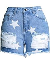 Shorts Pour Femmes Star Prints Burr Taille Haute Stretch Denim Loisirs Jeans Partie Clubwear Poche Loose Hot Pants