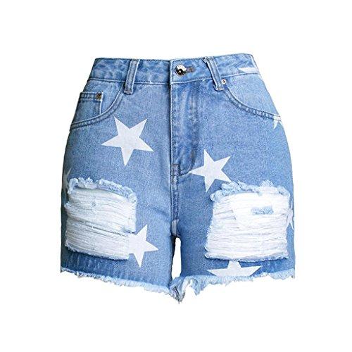 Damen Shorts Star Drucke Burr Hohe Taille Stretch Denim Freizeit Jeans Party Clubwear Tasche Lose Heiße Hosen . Blue . (Kostüme Star Vinyl Rock)