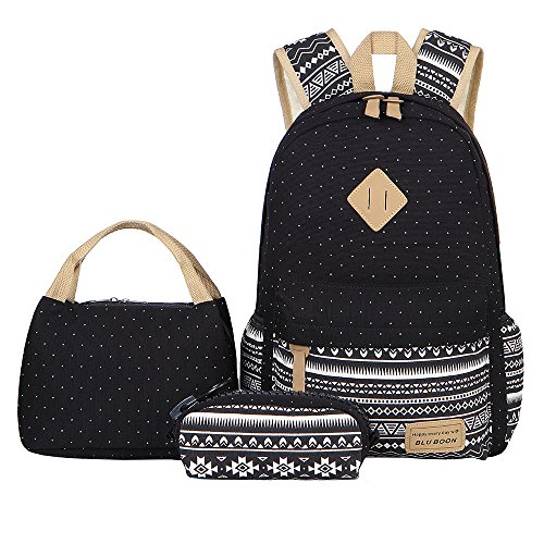 Bluboon tela zaino casual scuola zaini donna ragazza canvas backpack zainetto 3 in 1 (nero-03)