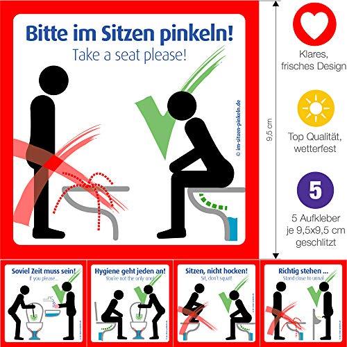 4x Bitte im Sitzen pinkeln Aufkleber. Das Original. Modernes Schild für die saubere Toilette
