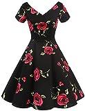 Gardenwed Robe de Cocktail Rétro 1950s Manches Courtes Robe Vintage Rockabilly Pin up Classique 50 Années Black Rose 3XL