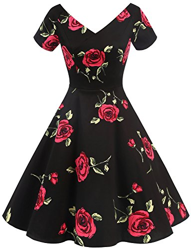 Gardenwed Women's Vintage 1950s V-Neck Garden Party Picnic Dress Retro Cocktail Dress with Short Sleeves Black Rose XS - Womens Vintage Rose