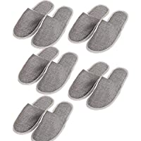 Ototon Disposable Slippers Closed Toe Non-Slip Linen Grey Beige for Guests Hotel Spa Salon Indoor Home Men Women 5Pcs (Grey)