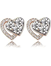 Crystal Diamond Accent Heart Shape Earrings Made with Swarovski Crystal, with a Gift Box