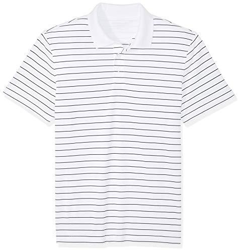 Amazon Essentials Slim-Fit Quick-Dry Stripe Golf Polo Shirt Poloshirt Herren, White, US (EU XL-XXL)