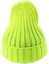 59efb3548920 JTC Femme Homme bonnet Unisexe de Tricot chapeau Elastique en  Acrylique-Jaune fluo