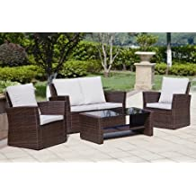 New Rattan Wicker Weave Garden Furniture Patio Conservatory Sofa Set INCLUDES OUTDOOR PROTECTIVE COVER (Brown)