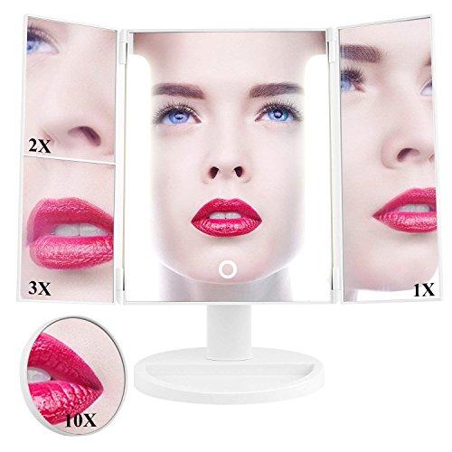 HAIRBY Kosmetikspiegel Make-up-Spiegel mit 36 LED Beleuchtung 1X ,2X ,3X ,10X Vergrößerung für Arbeit Touchscreen faltbar Schminkspiegel 180°drehbar einstellbar dimmbar Standspiegel durch Akku oder US