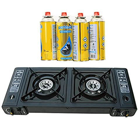 Parkland® Dual Burner Double Hob Camping Gas Stove Cooker + 4 Gas Refills