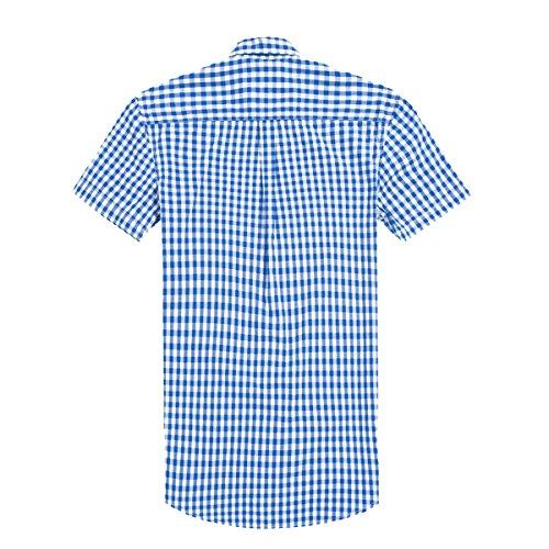Cotone Casuale Risvolto Corto LKDJCWX Uomo - Maniche Plaid Shirt Blue