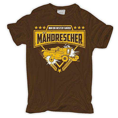 Männer und Herren T-Shirt Nur die Besten fahren MÄHDRESCHER Braun