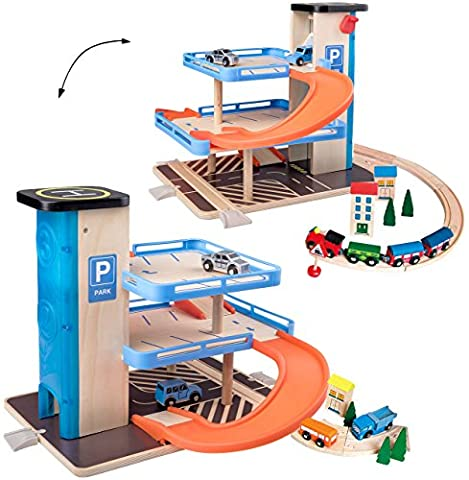 Parkhaus / Garage mit 3 Ebenen - aus Holz - incl. Fahrzeuge / Auto & Lift - passend mit Schienensystem & Eisenbahn - Holzeisenbahn - paßt zu allen gängigen Schienen & Holzstraßen - Holzgarage Eisenbahnschienen / Schienen Autogarage - Parkgarage - Autos - Fahrzeuglist / Fahrstuhl - Spielwelt - zum Spielen - Fahrzeug / Spielset - Spielzeug - Spielmatte - Spielzeugwelt - 1:64 / Holzgarage