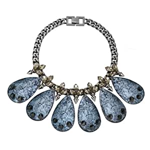 Mawi London Crystal Leaf and Spike Necklace with Spiked