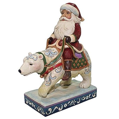 Heartwood Creek with Me-Santa Riding Polar Bear Figurine, RESIN, Mehrfarbig, 8.5 x 15.5 x 18 cm (Weihnachten Sankt Bären)