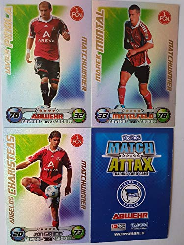 Match Attax Topps 2009 2010 - Trading Cards alle 3 Matchwinner - NÜRNBERG: Pinola, Mintal, Charisteas (Topps-fußball-2010)