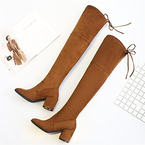 donne tacchi alti stivali lunghi sopra il ginocchio in pelle spessa peluche caldo scarpe allacciatura, BLACK-39 BROWN-39